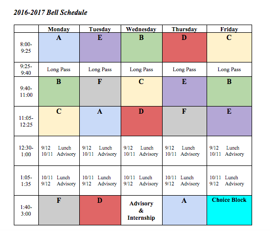 2016-2017 Bell Schedule Gets Students Ringing
